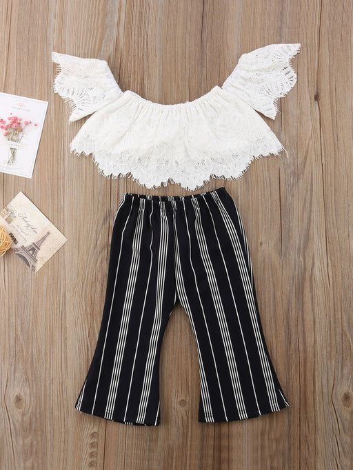 Toddler Girl Off The Shoulder Lace Top With Striped Pants