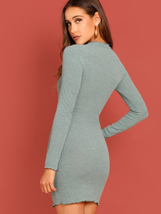 Lettuce Trim Rib Knit Dress - Alluforu