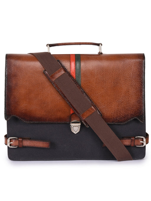 Phive Rivers Men's Leather and Canvas Charcoal and Tan Laptop Bag - Alluforu