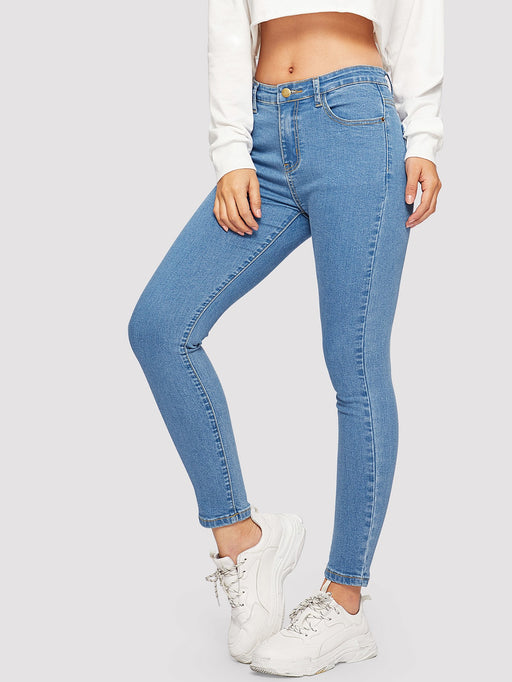 Button Detail Solid Jeans