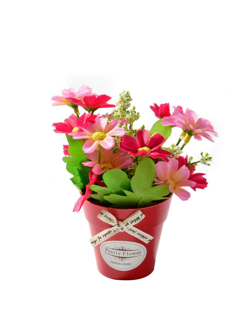 Artificial Flower With Plastic Pot