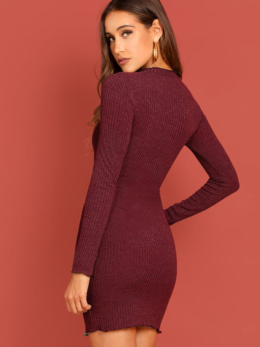 Lettuce Trim Rib-knit Bodycon Dress