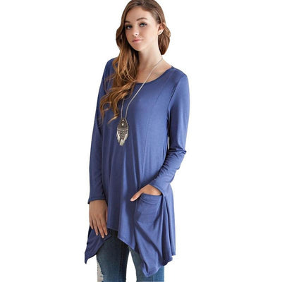 Long Sleeve Tunic with Pockets - Alluforu