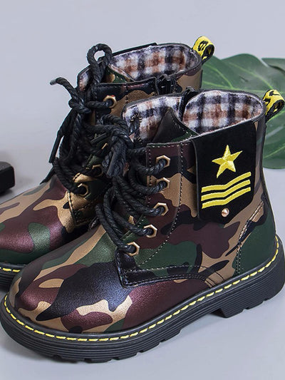 Toddler Kids Camouflage Lace-up Ankle Boots