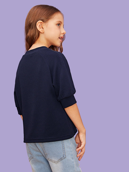 Girls Button Detail Raglan Sleeve Top - Alluforu