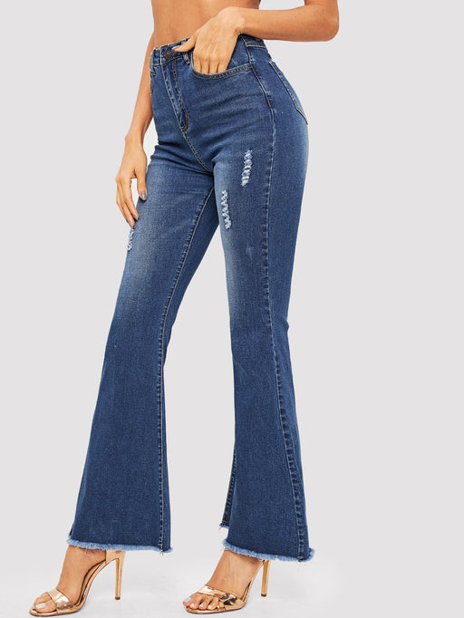 Frayed Trim Ripped Detail Flare Leg Jeans