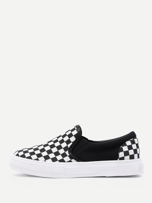 Gingham Canvas Slip On Plimsolls - Alluforu
