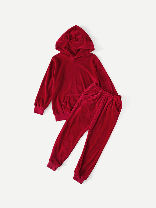 Boys Velvet Hoodie With Pants