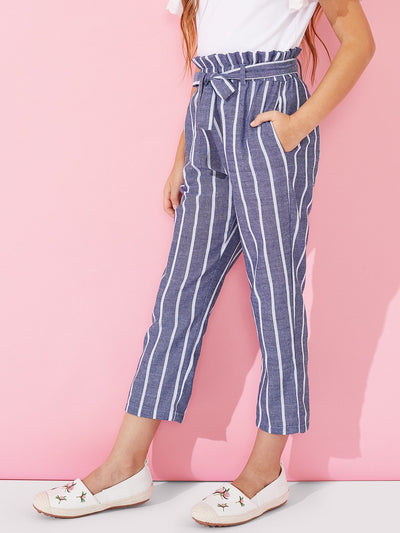 Girls Waist Belted Striped Pants