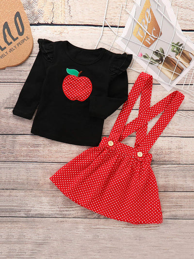 Toddler Girls Embroidered Tee With Pinafore Dress