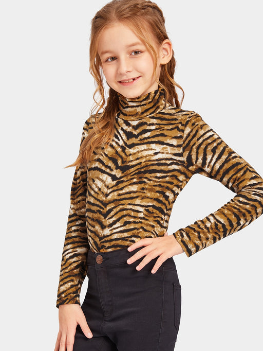 Girls High Neck Tiger Print Top
