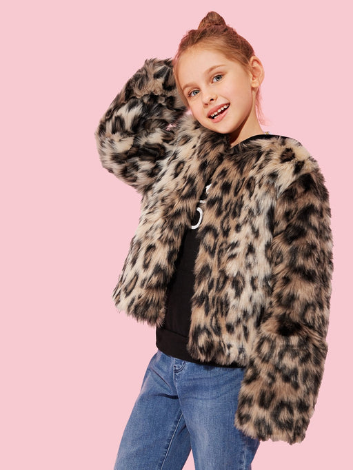 Toddler Girls Leopard Print Teddy Coat - Alluforu