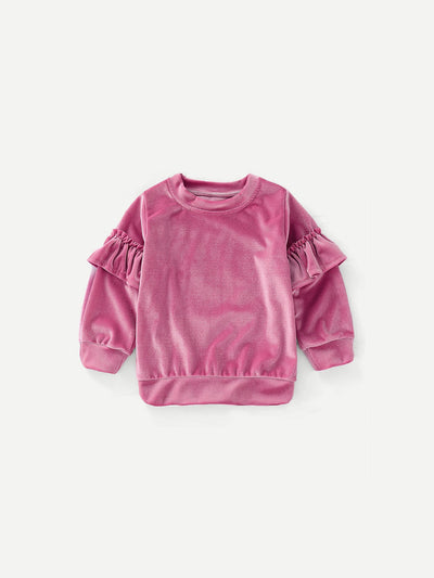 Girls Ruffle Trim Solid Sweatshirt
