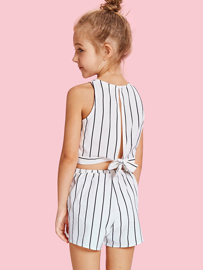 Girls Slit Knot Back Stripe Shell Top & Shorts Set