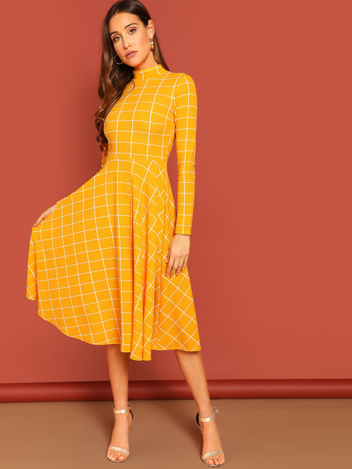 Keyhole Back Mock-neck Grid Fit & Flare Dress - Alluforu
