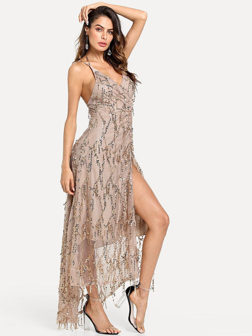 Split Sequin Strap Dress - Alluforu