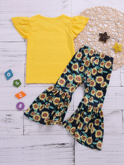 Toddler Girls Solid Tee With Sunflower Print Flare Pants