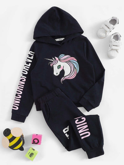 Girls Unicorn and Letter Print Hoodie & Pants Set