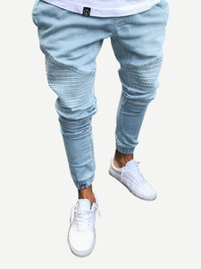 Men Ruched Detail Solid Jeans
