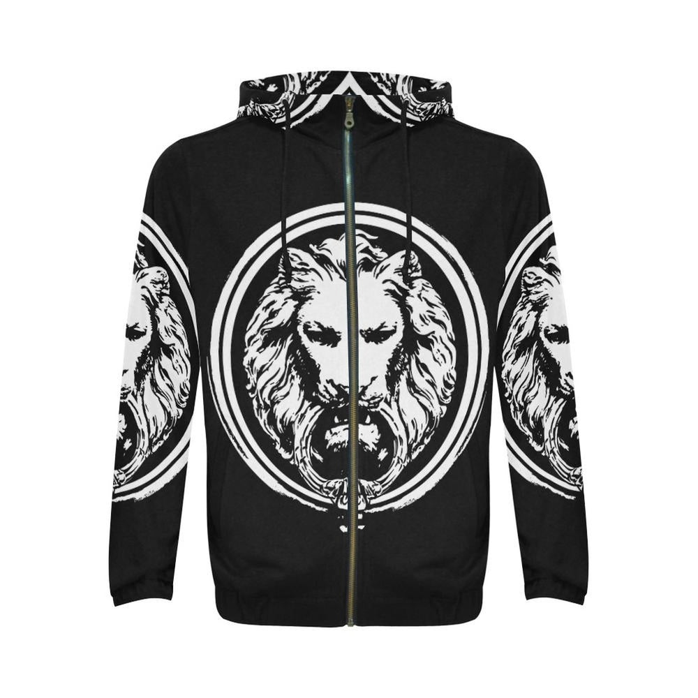 Black and White Lion All Over Mens Zip Hoodie - Alluforu