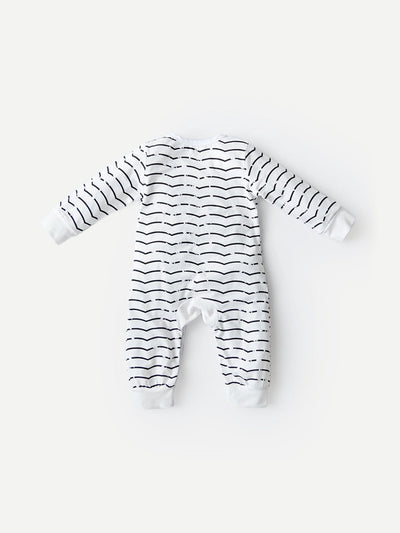 Baby Letter Print Striped Jumpsuit