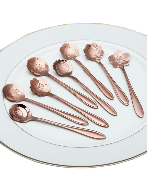 Stainless Steel Floral Spoon 8pcs - Alluforu