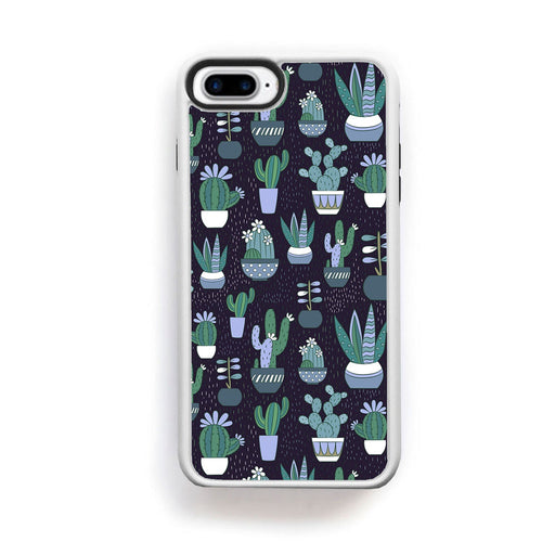 Small potted cactus print on dark gray navy for iPhone 7 Plus - Alluforu