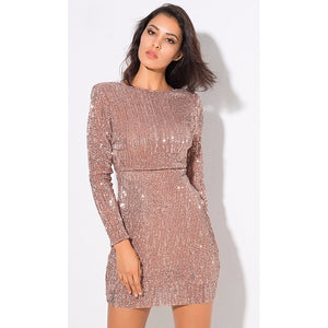 Champagne Sequin Mini Dress - Alluforu
