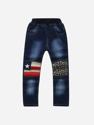 Boys Contrast American Flag Jeans