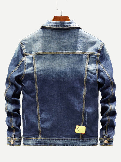 Men Ripped Letter Print Wash Denim Jacket