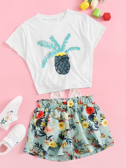 Girls Pineapple Print Tee & Floral Shorts Set - Alluforu