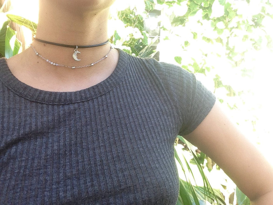 Baby Crescent Vegan Leather Choker