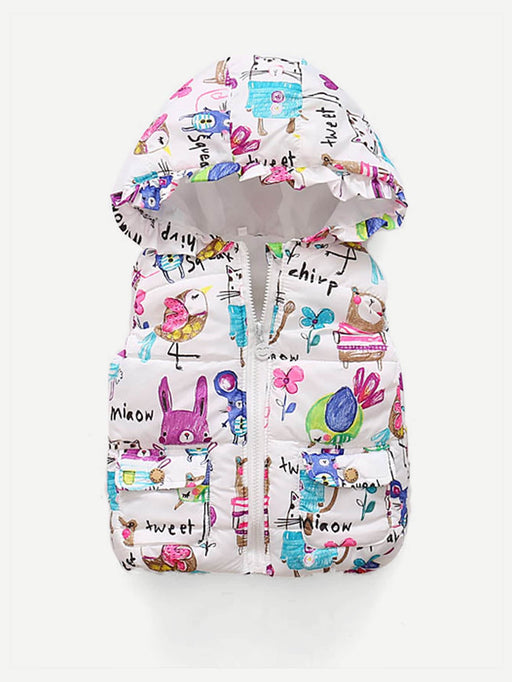 Toddler Girls Cartoon Print Hooded Vest - Alluforu