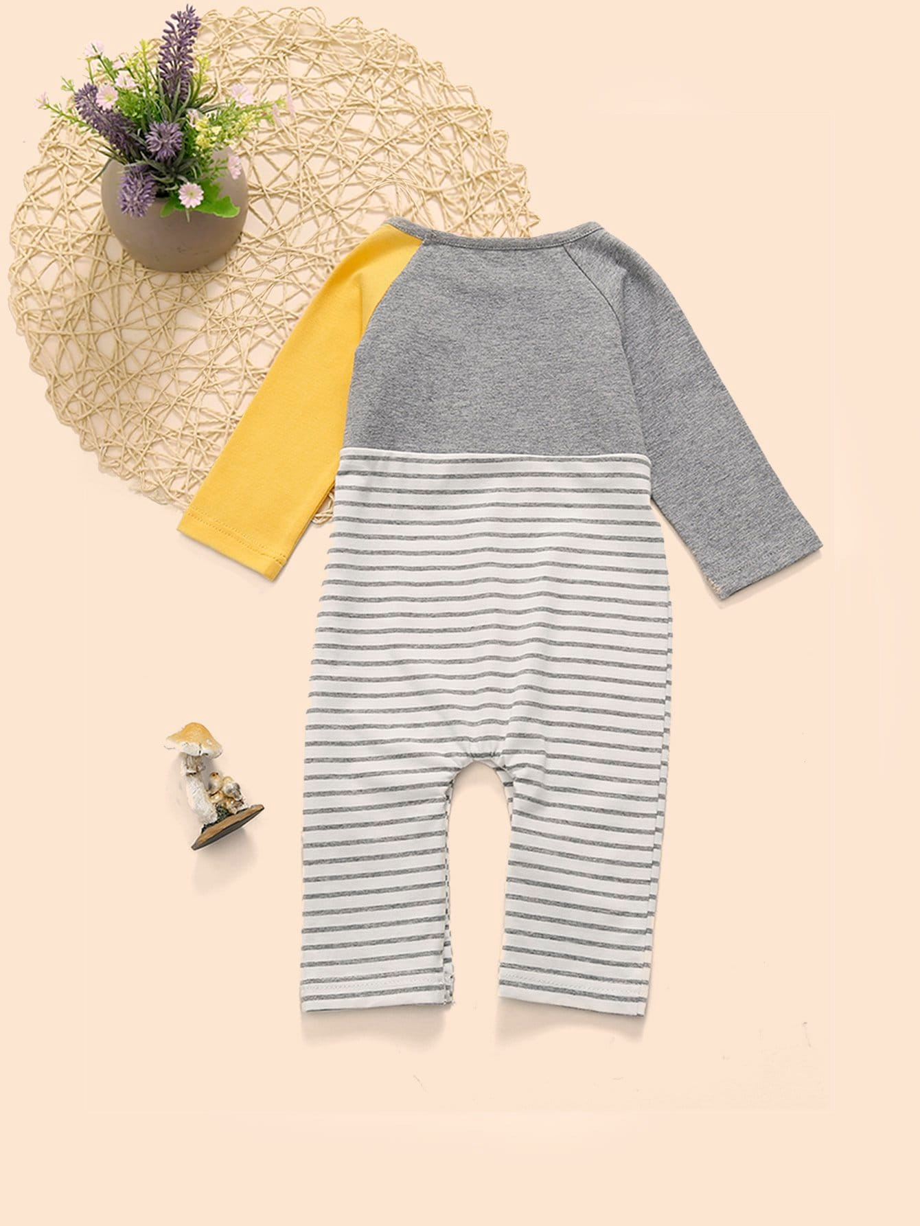 Baby Cartoon Print Striped Jumpsuit