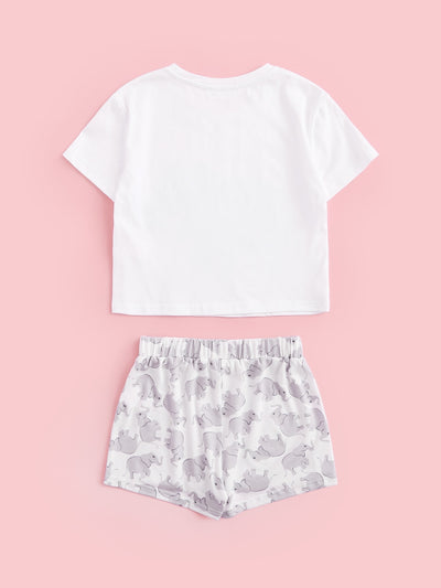 Girls Elephant Print Tee & Shorts PJ Set