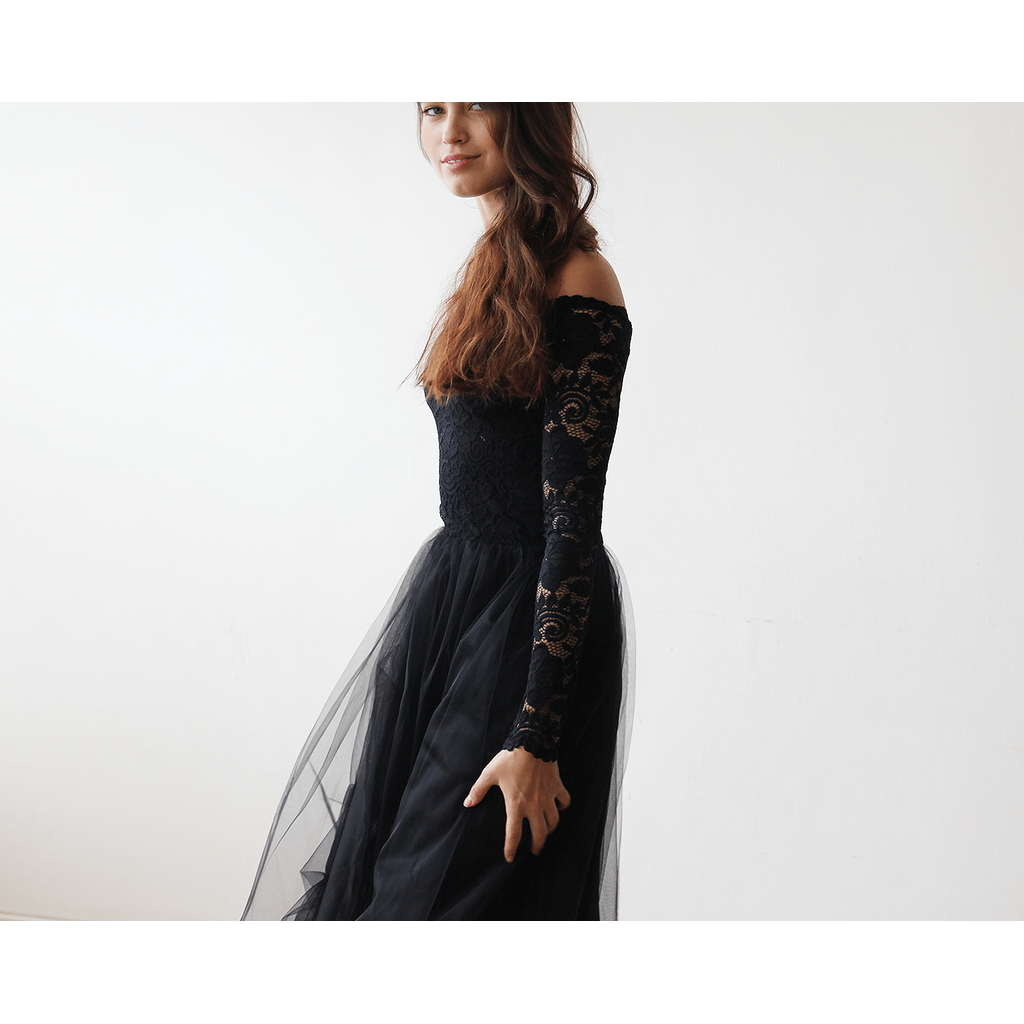 Black Off-The-Shoulder Lace and Tulle Maxi Dress  1134