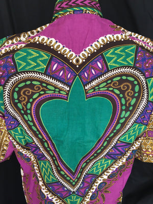 Casanova African Print Dashiki Top back view close up