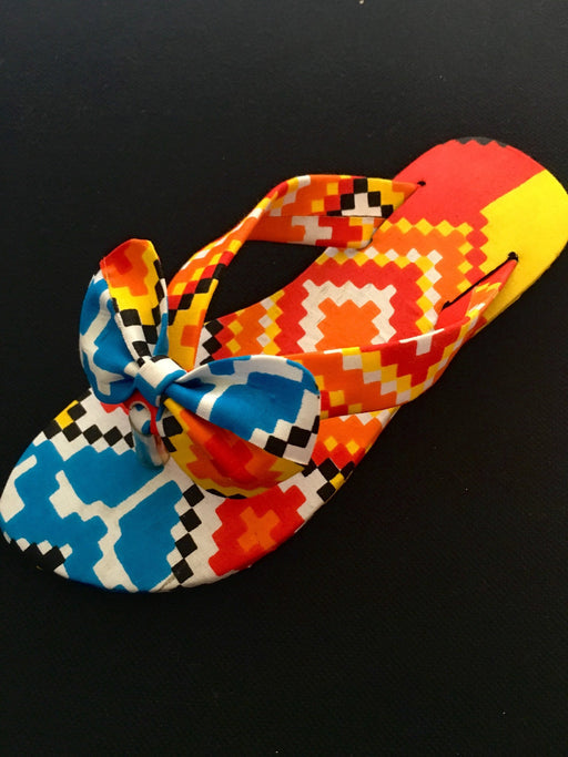 Orange African Print Bow Tie Sandals for Kids - Alluforu