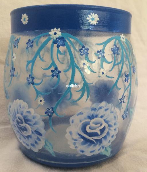 Tinted Rose Hand Painted Vine Vase - Alluforu