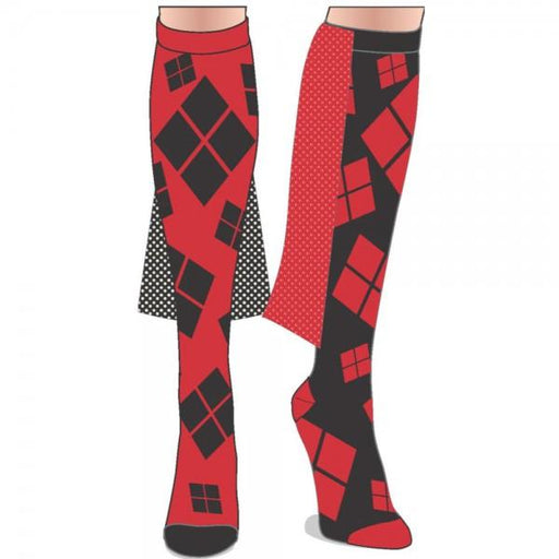 Harley Quinn Cape Juniors Knee High Socks - Alluforu