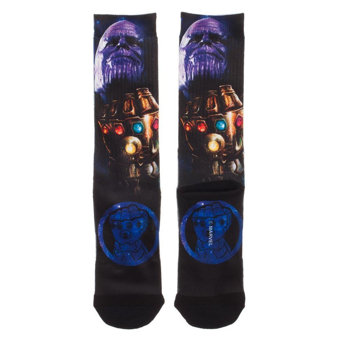 Avengers: Infinity War Theme Thanos with the Infinity Gauntlet Crew Sock - Alluforu