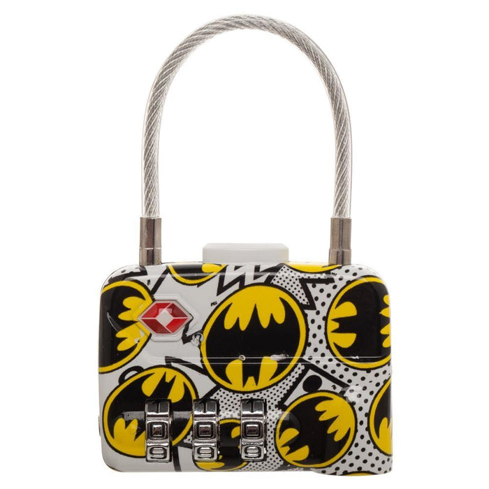 DC Comics Batman Logo TSA Approved Travel Combination Cable Luggage Lock for Suitcase Baggage - Alluforu