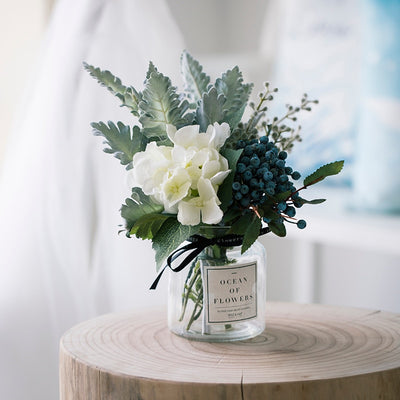 Artificial Bouquet with Glass Vase - Alluforu