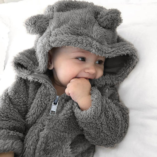 Long Sleeve Thick Faux Fur Hoodie Baby-Toddler - Alluforu