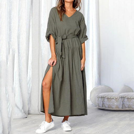 Loose Long Sleeve V-neck Maxi Dress - Alluforu