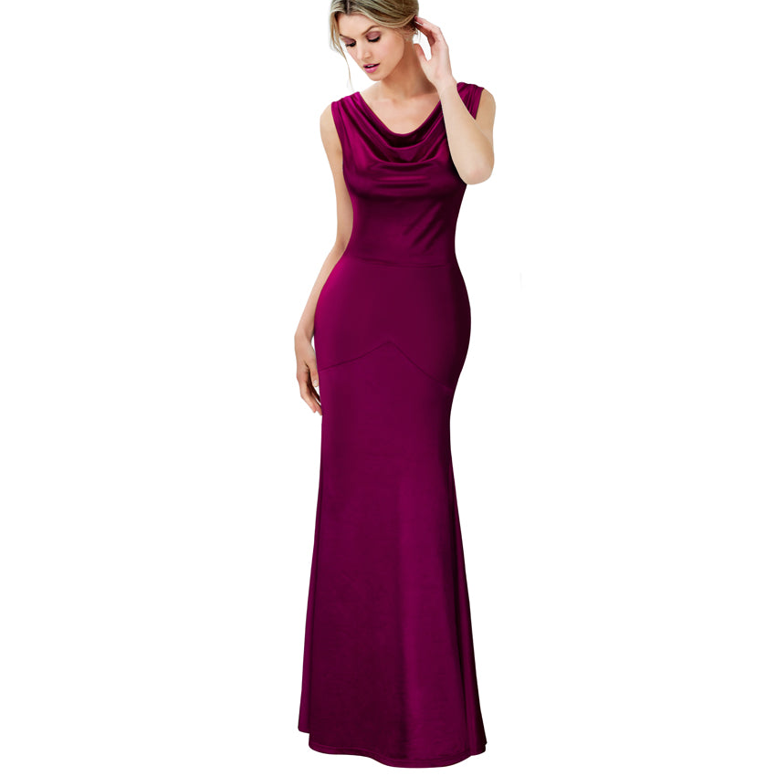 Elegant V-Neck Sleeveless Fitted Evening Dress