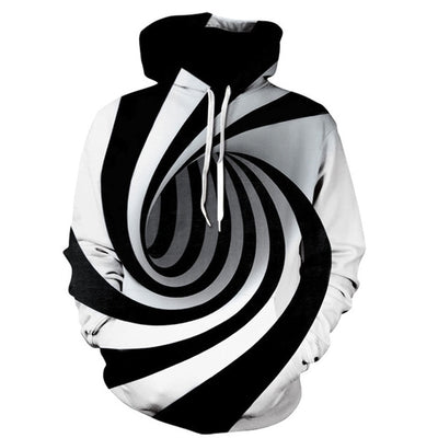 3D Black & White Spiral Sweatshirt