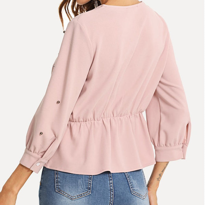 Deep V-Neck Long Sleeve Blouse