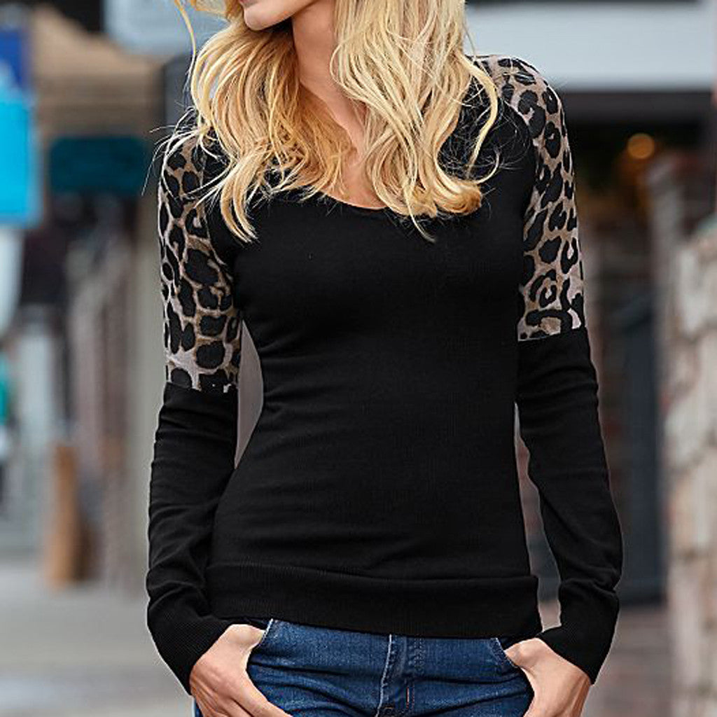 Long Sleeve Leopard Print Tunic Shirt