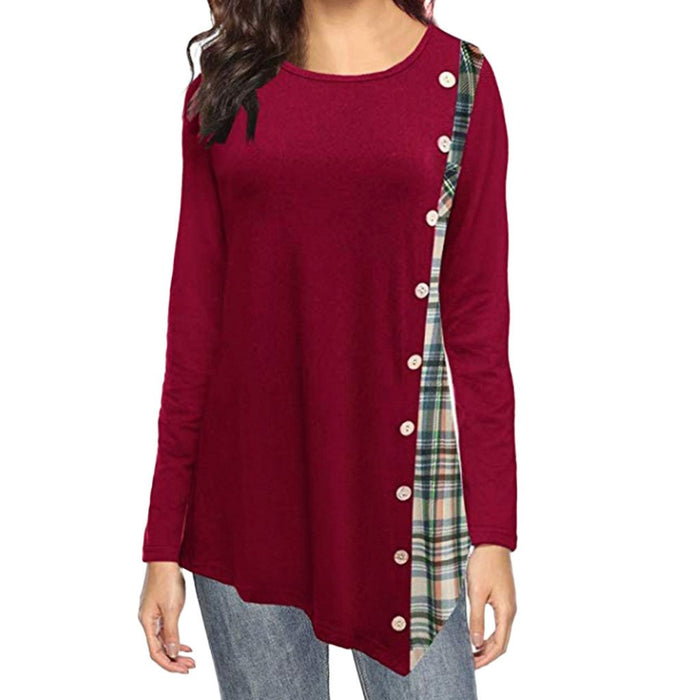 Long Sleeve Plaid Button T-shirt